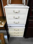 A pair of white bedroom chest of drawers 51cm x 45cm x height 57cm