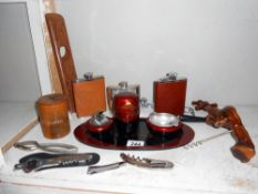 A vintage Oriental lacquered smokers stand, plus hip flasks, corkscrews etc.