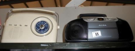 A retro Bush radio with lead and an Alba CD radio,