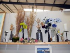 A good lot of various vases and dried/artificial flowers