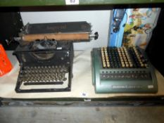 A vintage Imperial typewriter and a Sumlock adding machine
