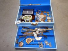 A jewellery box of old watches including art deco, silver pendant, brooches,