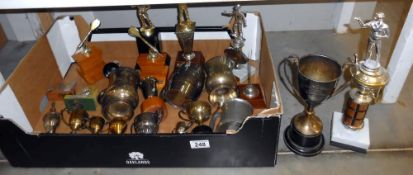A quantity of silver plated trophies etc.
