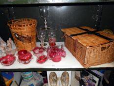 7 items cranberry all a/f, wicker basket etc,