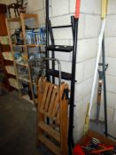 A vintage wooden step ladder and 1 other