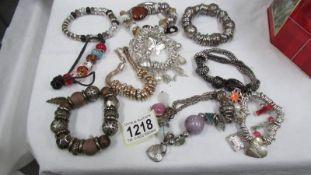 10 Pandora style bracelets.