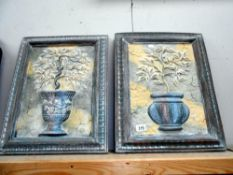 2 heavy plaster wall plaques of planters in frames 43cm x 54cm