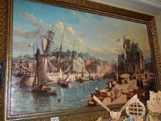 A large gilt framed over painted print of a harbour scene.
