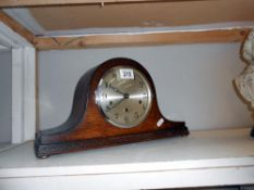 A Napoleon hat mantle clock with pendulum and key ****Condition report**** In