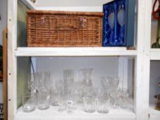 A quantity of crystal glassware and a boxed Millennium champagne flutes, etc.