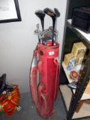 A BGF golf bag (needs clean) plus 12 mostly Slazenger golf clubs, size 2, 3, 4, 5, 6, 7, a wedge,