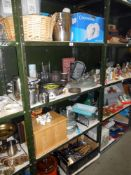 4 shelves of kitchen ware including Pyrex, cutlery, cow creamer etc,