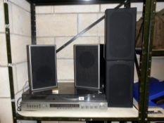 A vintage Panasonic SG-2200 Hi-Fi record cassette radio music system plus another pair of speakers