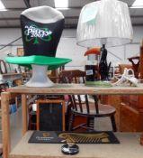 A Guinness Carlton Ware lamp a/f, hat,