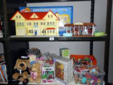 2 shelves of childrens toys including Poly Pocket, Pennys stables, soft toys, small figures.