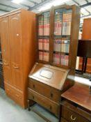 1950's oak bureau bookcase base width 74cm, depth 41cm, bookcase depth 20cm,