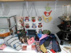 A good selection of used neck ties and a selection of graduated make up bags, which are as new,