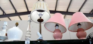 A quantity of table lamps and some shades