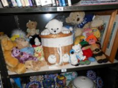 A shelf of soft toys including Ty Beanies, vintage knitted animals etc.
