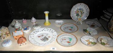 A quantity of decorative ribbon plates plus small lot of vintage pomanders etc.