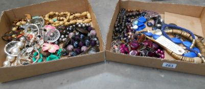 2 boxes of assorted costume jewellery