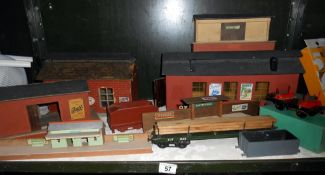 O' gauge wooden railway buildings and Hornby boxed no.50 wagon etc.