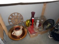 A selection of glass and pottery vases and planters