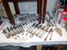 A quantity of silver plate cutlery sets etc.
