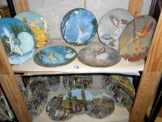 15 Royal Worcester and Davenport collectors cabinet plates on 2 shelves