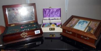 3 jewellery boxes and contents