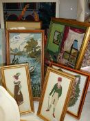 7 cross stitch/tapestry pictures.