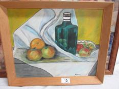 A still life oil on board signed B Gilpin, image 36 x 30 cm, framed 41 x 34 cm.