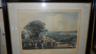 A large framed and glazed print entitled 'Review at the Mont Park, Friday 26th May 1837',