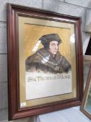 A framed and glazed portrait print of Sir Thomas Moore (1478-1535), image 57 x 40 cm,