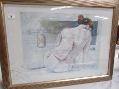 A framed and glazed print of a semi nude woman in corset, glass a/f to left corner,