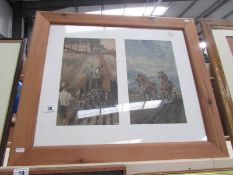 A pair of framing print in a single pine frame, 72 x 62 cm.