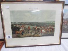 A framed and glazed print entitled 'The Quorn Hunt', 'The Meet' published 1835.