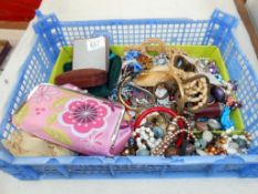 A box of costume jewellery including beads, necklaces etc.