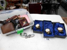 A quantity of wristwatches and gilded small clocks etc.