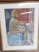 A framed and glazed pastel 'Figure Study' by Joyce Snowden (Lincolnshire Artist's Society artist),