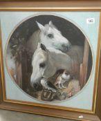 A large gilt framed and glazed print of horses, 68 x 68 cm.