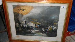 A birds eye maple framed and glazed print entitled 'The Escape of John Wesley', dated 1870.