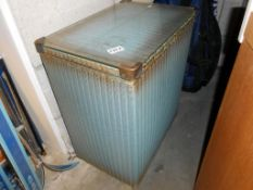 A blue and gold Lloyd Loom linen box with glass top 46cm x 31cm x height 55cm