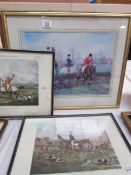 A framed and glazed hunting print entitled 'Over The Brier' by George Dorville Rowlandson (19th