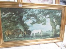 A gilt framed George Stubbs print 'Mares and Foals in Woodland Landscape', image 80 x 42 cm,