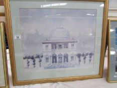 A framed and glazed architectural print, 67 x 60 cm.