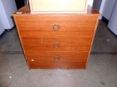 A teak effect 3 drawer bedroom chest of drawers 66cm x 46cm x height 65cm