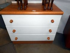 A light oak effect and painted 3 drawer bedroom chest of drawers 77cm x 46cm x height 65cm