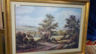 A large gilt framed rural scene, 114 x 85 cm.