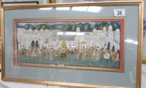 A framed and glazed print of an Indian procession, image 40 x 16, frame 55 x 32.